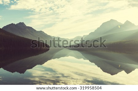 Bowman lake in Glacier National Park, Montana, USA - stock photo