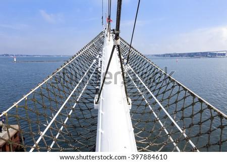 bowsprit of an old sailing ship Gorch Fock - stock photo