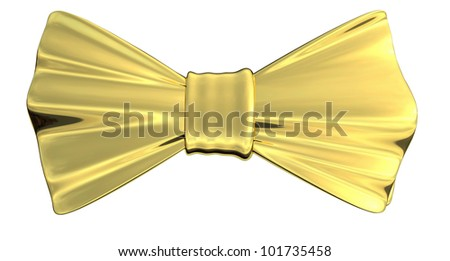 Bowtie Gold metallic in 3D, isolated