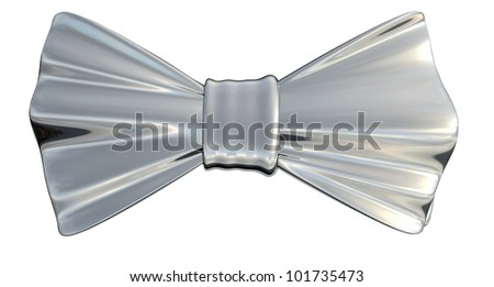Bowtie Silver metallic in 3D, isolated