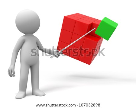 box /A man is explaining the boxes - stock photo