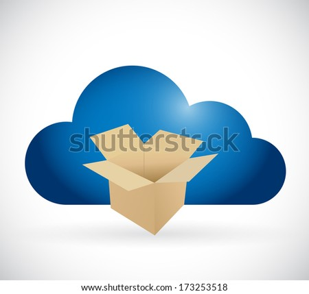 box and cloud storage concept illustration design over a white background - stock photo