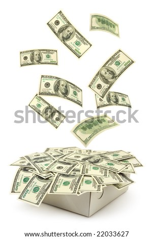 Box and falling money isolated on white background - stock photo