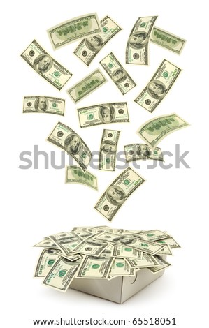 Box and falling money isolated on white background
