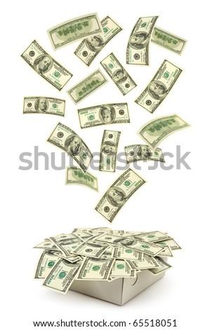 Box and falling money isolated on white background - stock photo