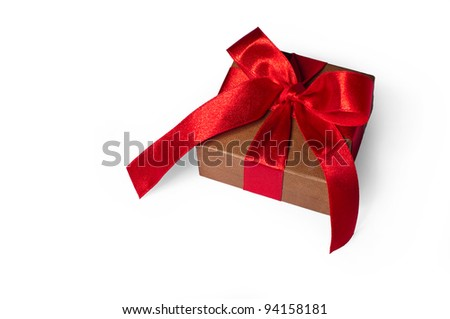 Box, bow and ribbon isolated on white