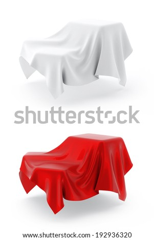 Box Covered with cloth. 3d illustration on white background - stock photo