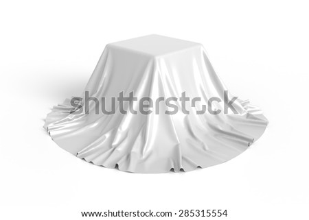 Box covered with white fabric. Isolated on white background. Surprise, award, prize, presentation concept. Showroom stand. Reveal a hidden object. Raise the curtain. Photo realistic illustration. - stock photo