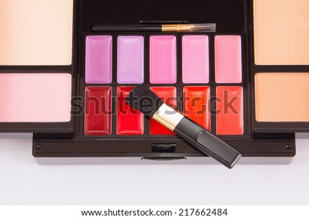 box female cosmetics makeup eyeshadow - stock photo