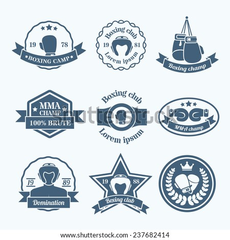Box fight sport camp club championship emblems grey set isolated  illustration - stock photo