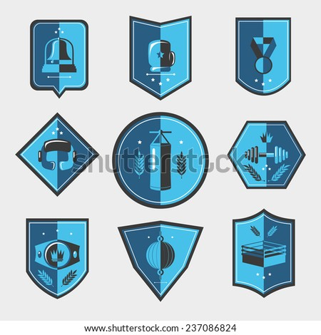Box fight sport uniform elements emblems set isolated  illustration. - stock photo