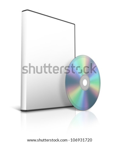 box for DVD with a disk - stock photo