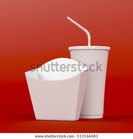 Box for french fries and soda cup on red background, 3D illustration