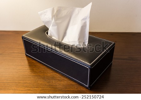 box for paper towels on the table - stock photo