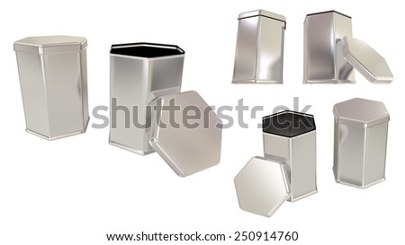 Box for tea or things metal hexagonal tins blank close and open set isolated on white background.Easy editable for your design. - stock photo