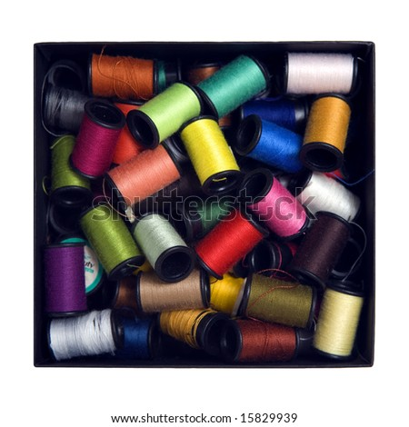 box full of colorful sewing - stock photo