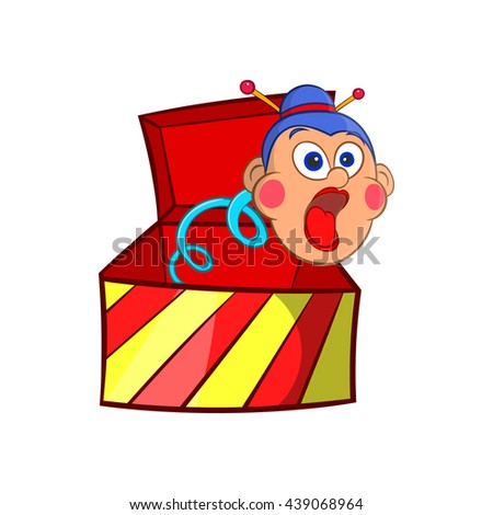Box jumping with toy icon, cartoon style