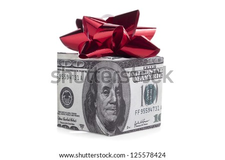 Box made of dollar with ribbon on white background - stock photo