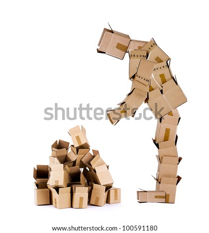 Box man character looking at a pile of empty boxes on a white background - stock photo