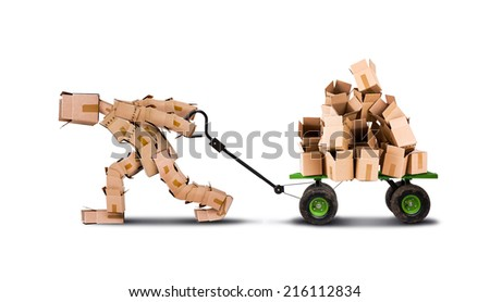 Box man pulling a cart of empty boxes - stock photo
