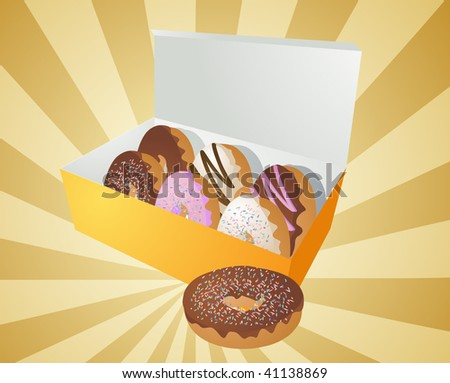 Box of assorted donuts illustration on radial burst - stock photo