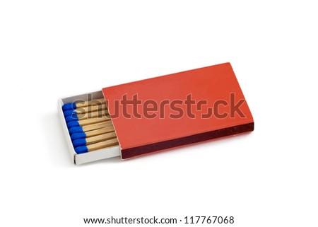 Box of blue matches isolated on white background - stock photo