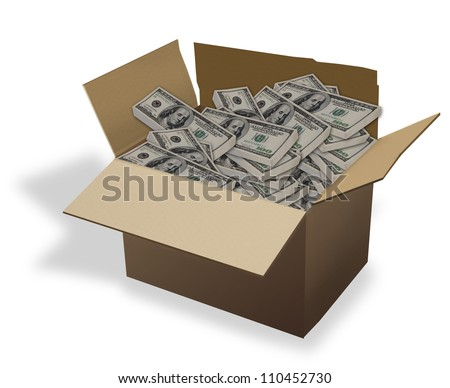 Box of Cash. - stock photo