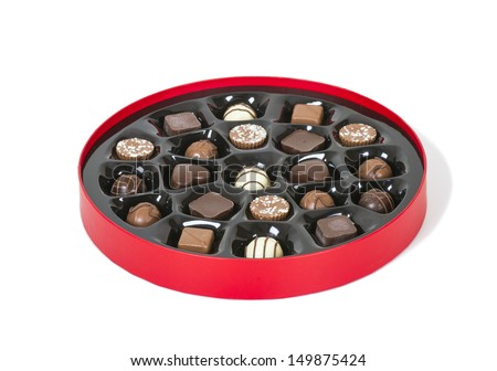 Box of chocolate candies - stock photo