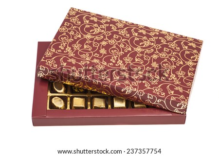Box of chocolate candies isolated on white - stock photo