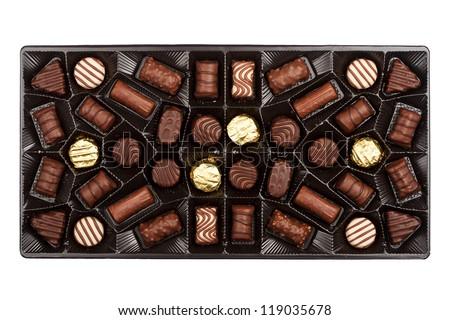 Box of chocolates box isolated on white background - stock photo