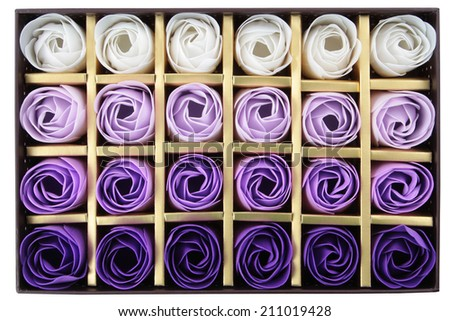 box of chocolates with rose isolated on white - stock photo
