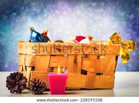 Box of Christmas toys - stock photo