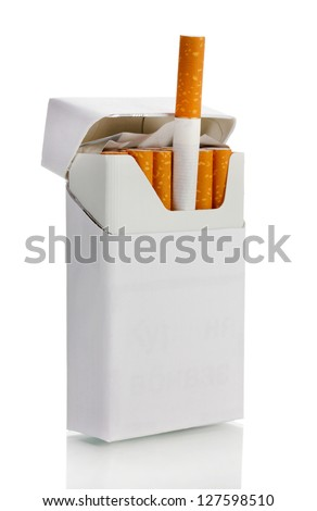 Box of cigarettes, isolated on a white - stock photo