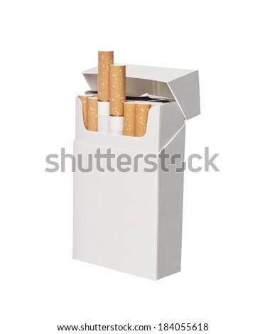 Box of cigarettes isolated on white background - stock photo