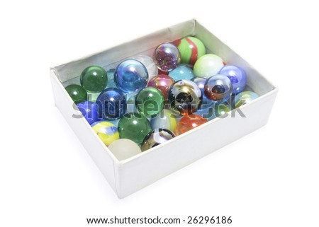 Box of Marbles on Isolated White Background