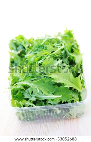 box of mizuna leaves ready for salad - fruits and vegetables