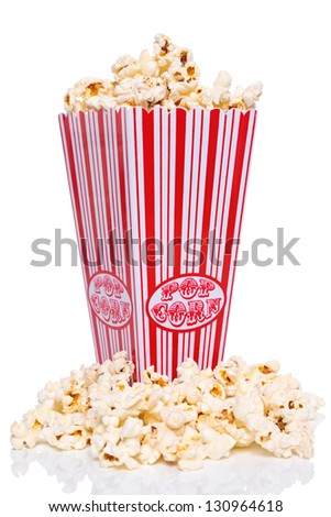 Box of Popcorn isolated on a white background.