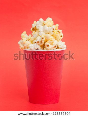box of popcorn on a red background