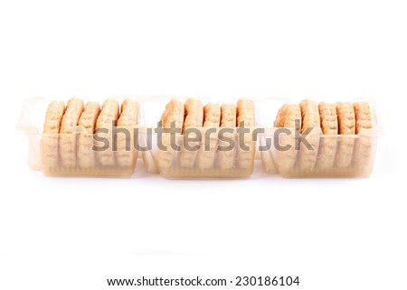 Box of puff pastry cookies - stock photo