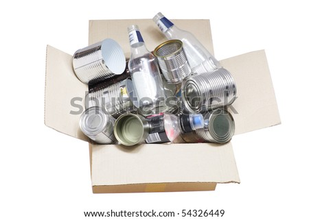 Box of Rubbish for Recycle on White Background - stock photo