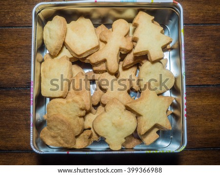 Box of shortbread cookies made at home before Christmas. - stock photo