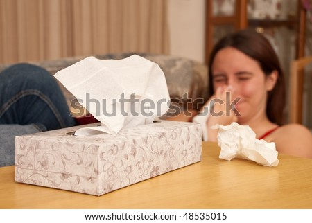 Box of Tissue for a Sick Girl - stock photo