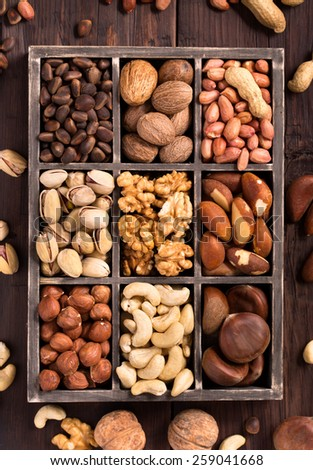 Box of variety nuts top view - stock photo