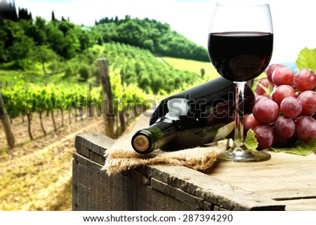 box of wood fruits bottle glass of wine and green plants  - stock photo