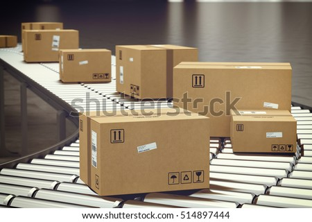 Box on conveyor roller. 3D Rendering