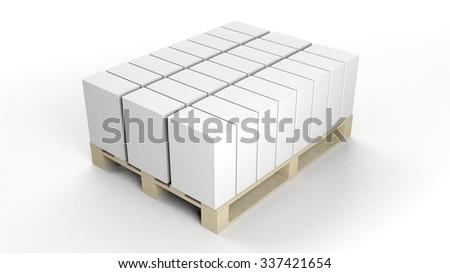 Box product mockups set on wooden pallet, isolated on white background. - stock photo