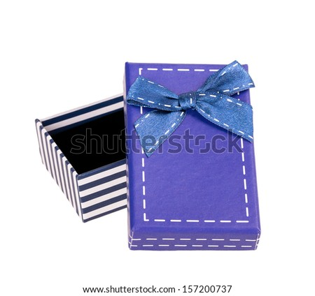 box ribbon bow isolated on white background