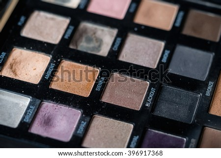 box set with multicolored eye shadow close up for makeup