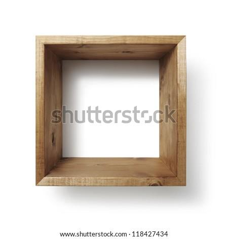 Box shelf on white wall - stock photo
