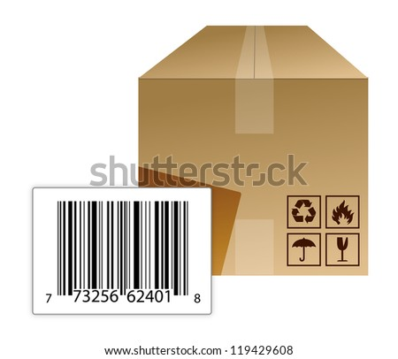 box with a barcode illustration design over a white background - stock photo